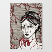 dragon ball Canvas Prints featuring Merrill: ball of twine  by Anca Chelaru