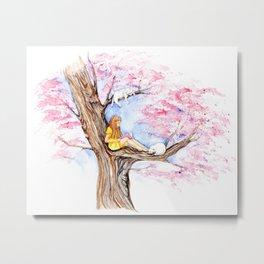 Reading Book under Sakura Tree Metal Print