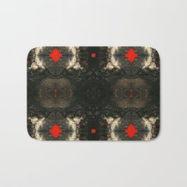 Psycho - Orange Pop surrounded by the Richness of Browns, Blacks and Tans by annmariescreations Bath Mat