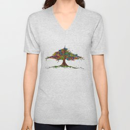 The Stained Glass Tree Unisex V-Neck