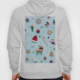 Collection of Christmas objects viewed from above Hoody