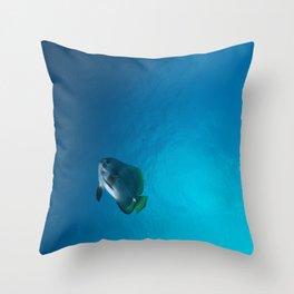Single tall fin batfish Throw Pillow