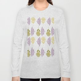 Abstract Stylized Floral Dandelion Repeating Pattern in Lilac Long Sleeve T-shirt