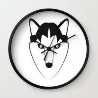 husky Wall Clocks featuring Husky by anabelledubois