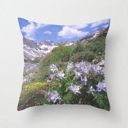 Columbine above Blue Lake near Breckenridge,Colorado Throw Pillow