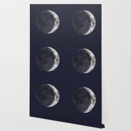 Waxing Crescent Moon on Navy Wallpaper