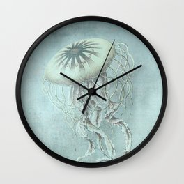 Jellyfish Underwater Aqua Turquoise Art Wall Clock