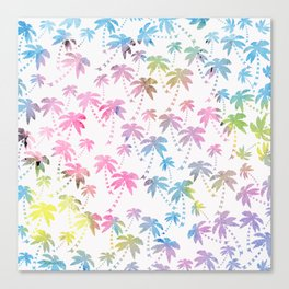 Pink teal watercolor modern palm tree pattern Canvas Print