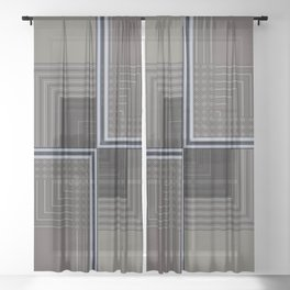 Biege Modern Block Design Sheer Curtain