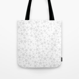 Block Print Silver-Gray and White Stars Pattern Tote Bag