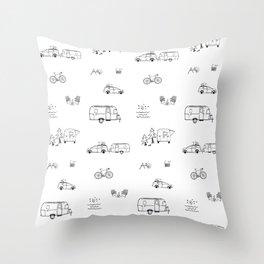 RV Retro Road Trippin Throw Pillow