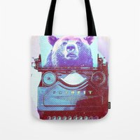 writer Tote Bags featuring Grizzly writer by RedGoat
