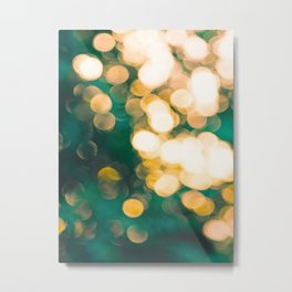 Green Turquoise Bokeh Blurred Lights Shimmer Shiny Dots Spots Circles Out Of Focus Metal Print