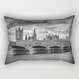 LONDON Houses of Parliament & Red Buses Rectangular Pillow