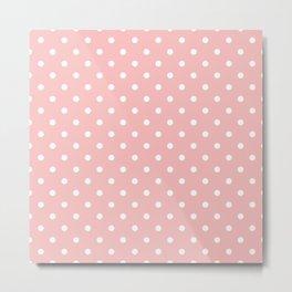 Powder Pink with White Polka Dots Metal Print