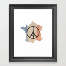 Outline of France with Tri-color Peace Framed Art Print