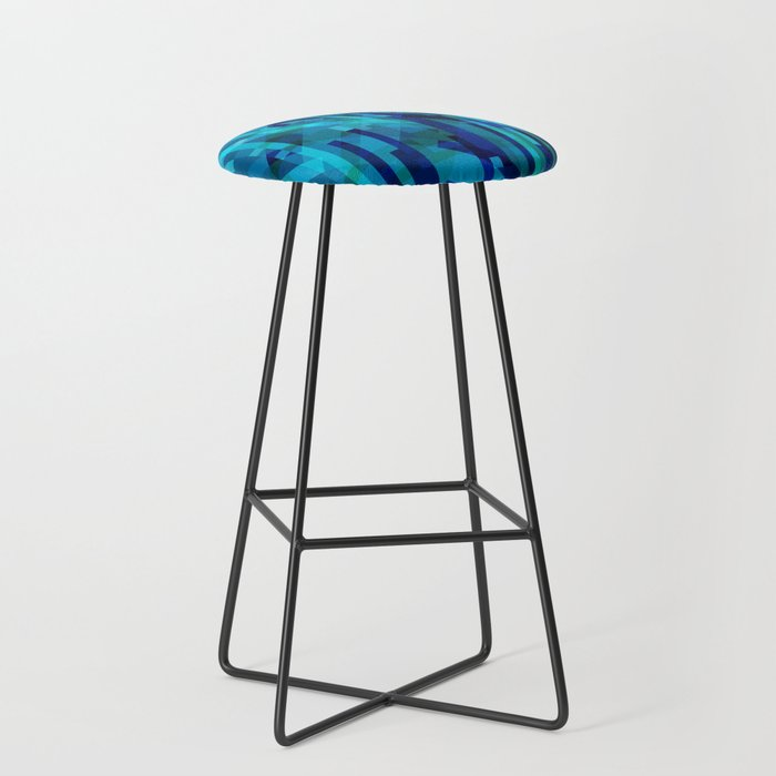 abstract composition in blues Bar Stool