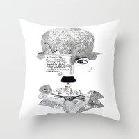 chaplin Throw Pillows featuring C. Chaplin by Ina Spasova puzzle