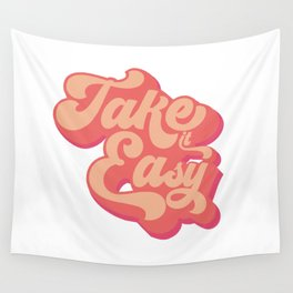 Take it easy 60s quote print Wall Tapestry