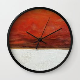 Northern Lights (red) Original Encaustic Painting Wall Clock