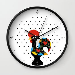 Famous Rooster Lucky Charm & Polka Dots Wall Clock