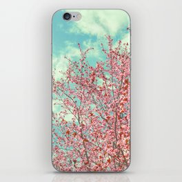 Pink flowers in the early morning iPhone Skin