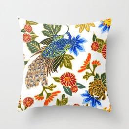 Peacock Floral Throw Pillow