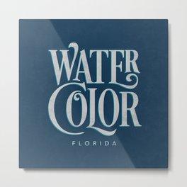 Watercolor, FL Typography (Blue) Metal Print