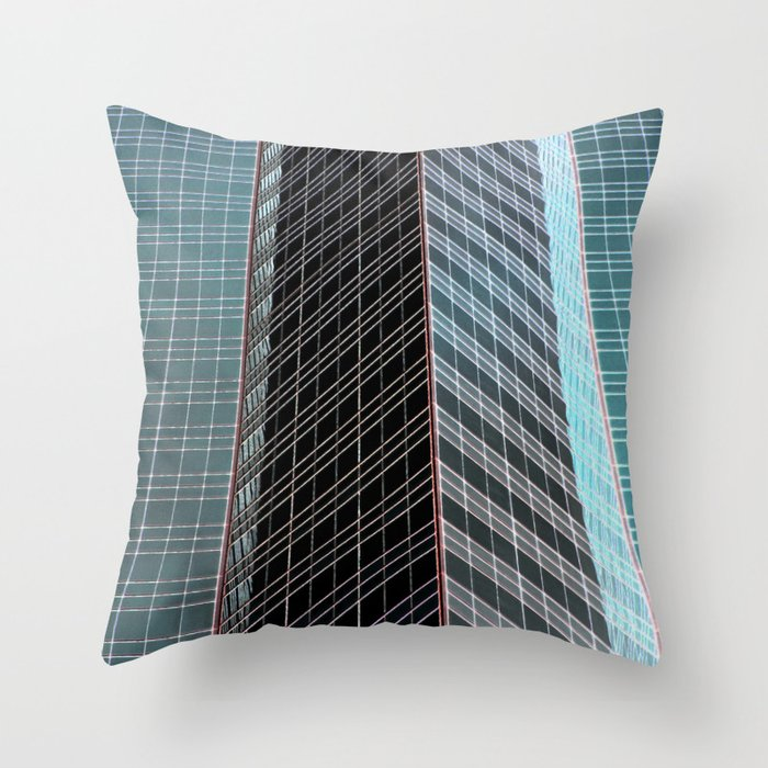 Blue Black Grey Glass Skyscraper Architecture Throw Pillow By Suekieper Society6