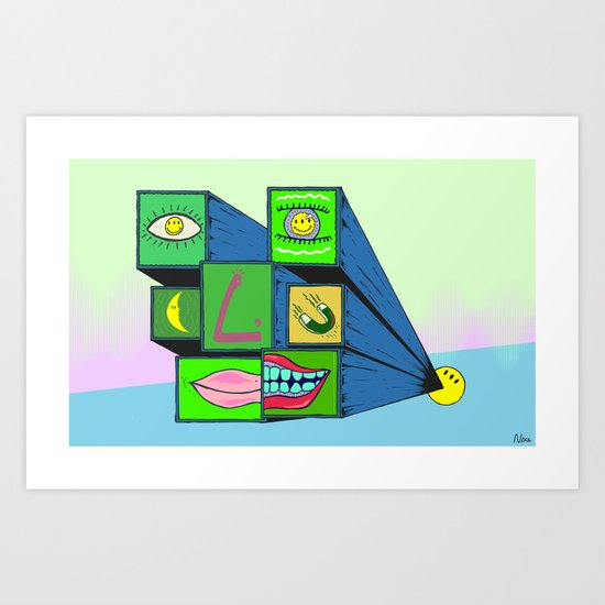 MANY FACE Art Print