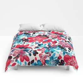 Happy Red Flower Collage Comforters