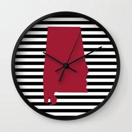 Bama crimson tide college state pattern print university of alabama varsity alumni gifts stripes Wall Clock
