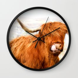 Highland Cow Licking its Nose Wall Clock