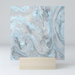 Ice Blue and Gray Marble Mini Art Print