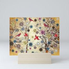 Winter Scene in Southwest Virginia (Snow, Cardinals & Snowflakes) Mini Art Print