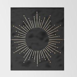 Sunburst Gold Copper Bronze on Black Throw Blanket
