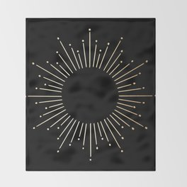 Sunburst Gold Copper Bronze on Black Throw Blanket