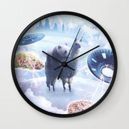 Space Panda Riding Llama Unicorn - Pizza & Taco Wall Clock