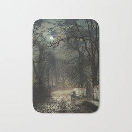 John Atkinson Grimshaw - A moonlit Lane - Victorian Retro Vintage Painting Bath Mat