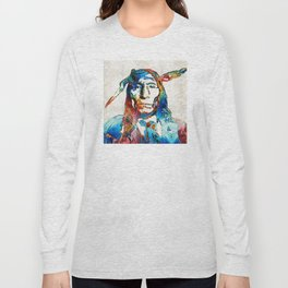 Native American Art - Warrior - By Sharon Cummings Long Sleeve T-shirt