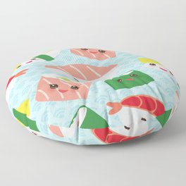 pattern Kawaii funny sushi rolls set with pink cheeks and big eyes, emoji Floor Pillow