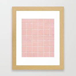 Peach Pink Tile Grid Framed Art Print