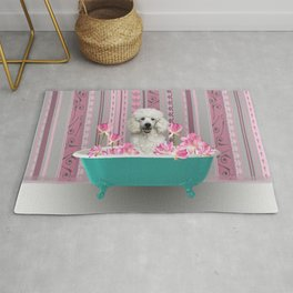 Poodle in Bathtub with Lotos Flowers Rug