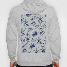 Modern watercolor blue berries fruit floral pattern Hoody