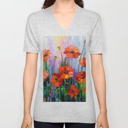 Blooming poppies Unisex V-Neck