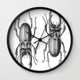 Vintage Beetle black and white Wall Clock