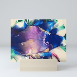 Purple Blue Abstract Floral Mini Art Print