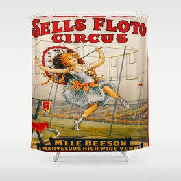 Vintage Sells Floto Circus Ad Shower Curtain