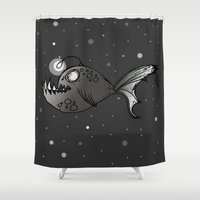 lantern Shower Curtains featuring Lantern Fish by GoAti