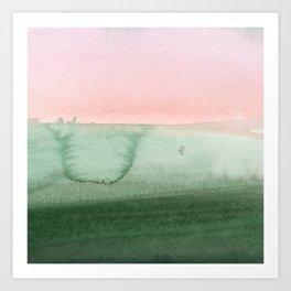 Hand painted pink green gradient watercolor Art Print